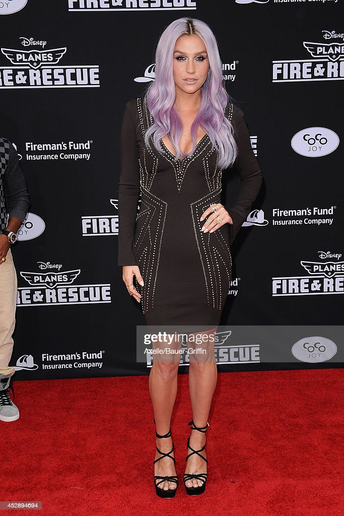 Singer Kesha attends the premiere of 'Planes: Fire & Rescue' at the El Capitan Theatre on July 15, 2014 in Hollywood, California.
