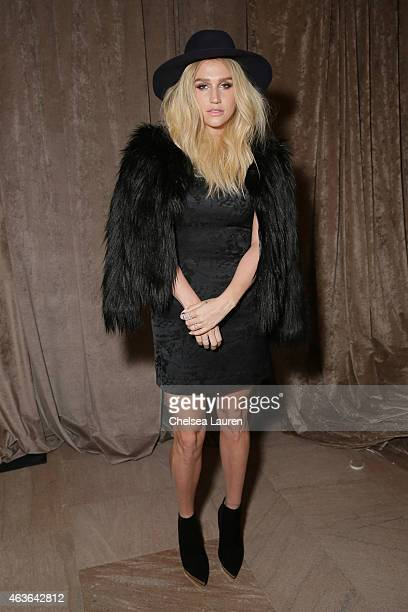 Singer Kesha attends the Zac Posen fashion show at Vanderbilt Hall at Grand Central Terminal on February 16 2015 in New York City