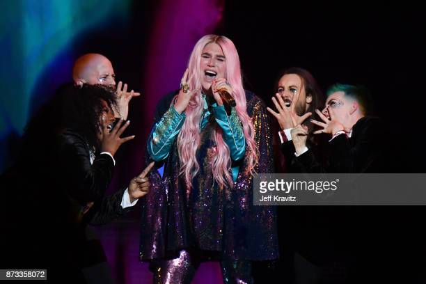 Singer Kesha performs on stage during the MTV EMAs 2017 held at The SSE Arena Wembley on November 12 2017 in London England