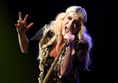 Singer Kesha performs onstage during KIIS FM's 2012 Jingle Ball at Nokia Theatre LA Live on December 3 2012 in Los Angeles California