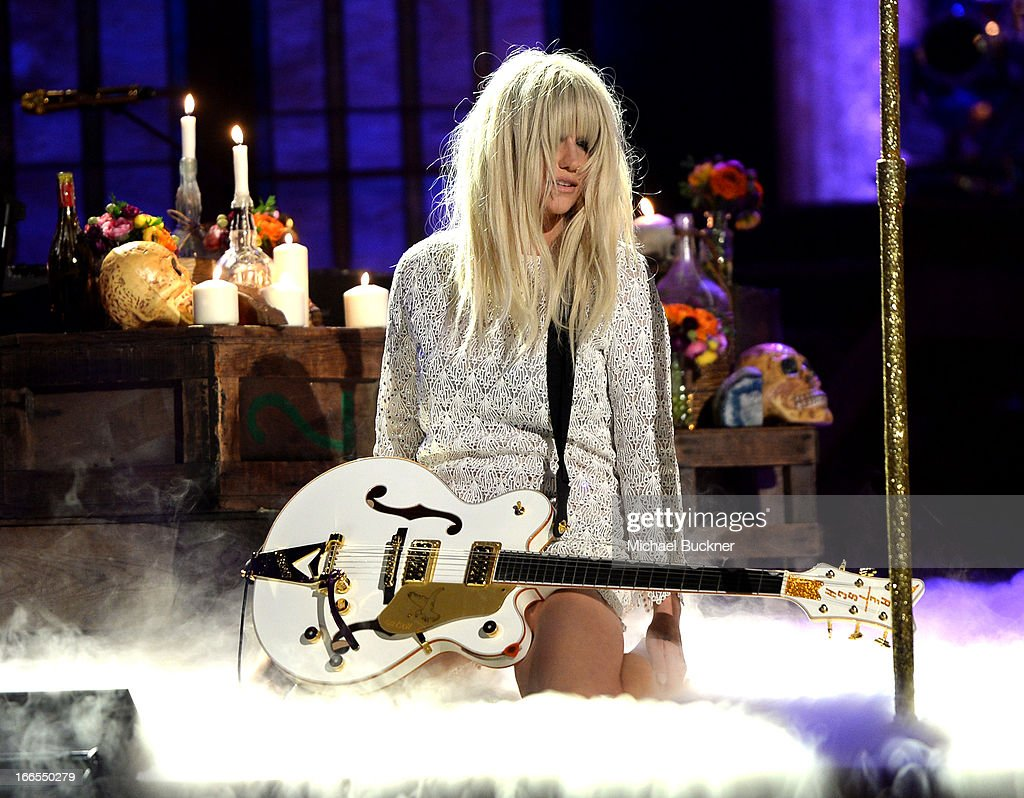 Singer Kesha performs onstage during the 2013 NewNowNext Awards at The Fonda Theatre on April 13, 2013 in Los Angeles, California.