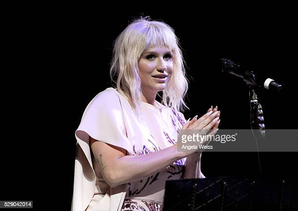 Singer Kesha performs onstage during The Humane Society of the United States' to the Rescue Gala at Paramount Studios on May 7 2016 in Hollywood...