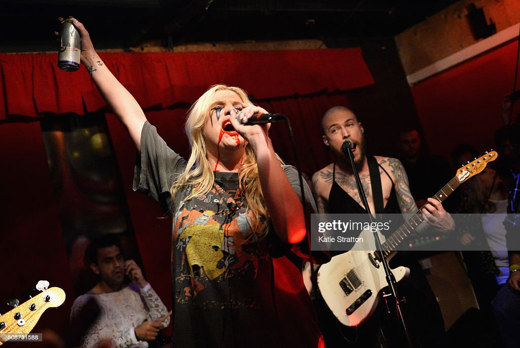 Singer Kesha performs onstage during The Silverlake Overpass Four Year Anniversary Party on February 6, 2016 in Los Angeles, California.
