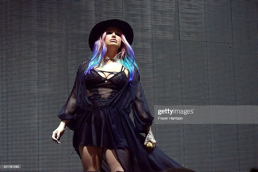 Singer Kesha performs onstage with record producer Zedd during day 2 of the 2016 Coachella Valley Music & Arts Festival Weekend 1 at the Empire Polo Club on April 16, 2016 in Indio, California.