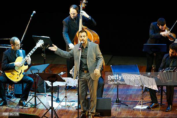 Singer Kevin Johanssen performs at the stage during the Stage Tango Final as part of Buenos Aires Tango Festival World Championship 2016 at Luna Park...