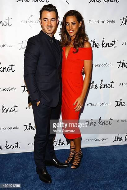 Singer Kevin Jonas and wife Danielle Deleasa attend The Knot Gala 2015 at New York Public Library on October 12 2015 in New York City