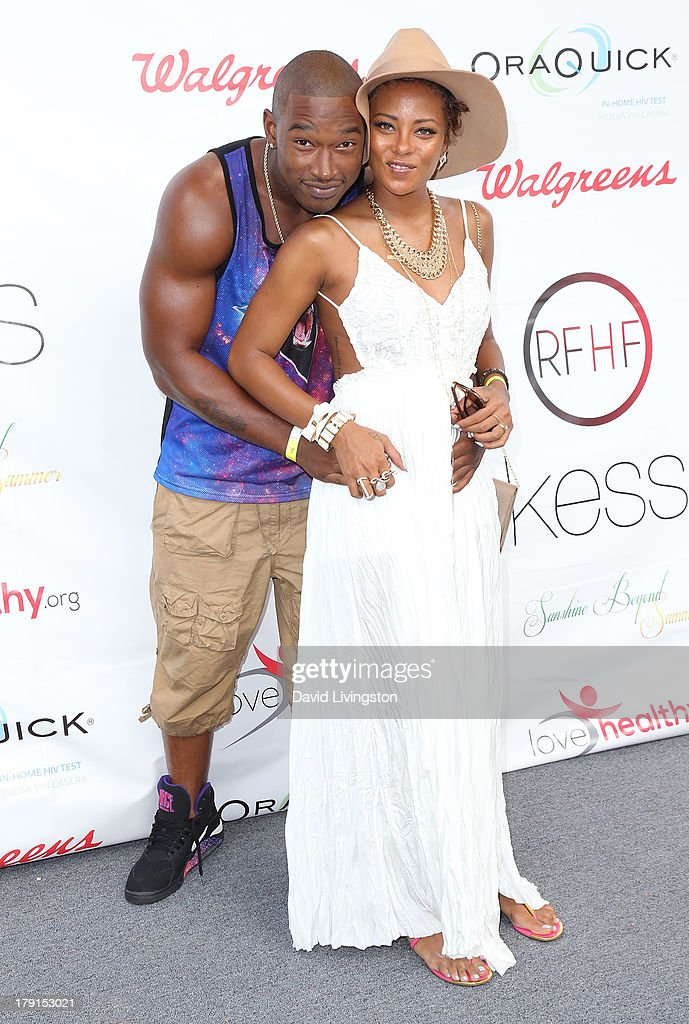 Singer Kevin McCall (L) and actress Eva Marcille attend the Reed for Hope Foundation's 11th Annual 'Sunshine Beyond Summer' celebration at a private residence on August 31, 2013 in Westlake Village, California.