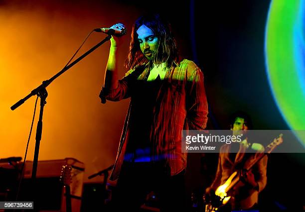 Singer Kevin Parker of Tame Impala performs onstage during FYF Fest 2016 at Los Angeles Sports Arena on August 27 2016 in Los Angeles California