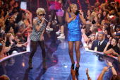 Singer Keyshia Cole and rapper Eve onstage during the 4th Annual VH1 Hip Hop Honors ceremony at the Hammerstein Ballroom on October 4 2007 in New...
