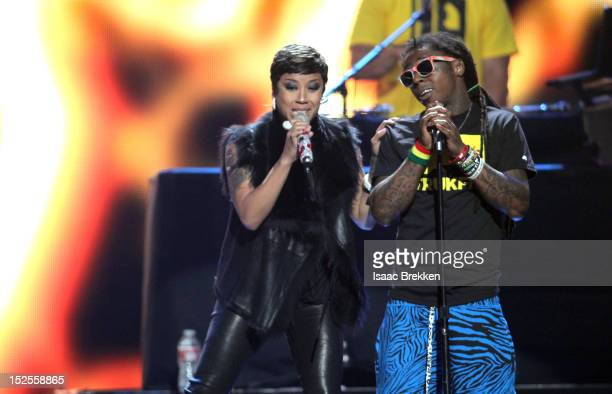 Singer Keyshia Cole and rapper Lil' Wayne perform onstage during the 2012 iHeartRadio Music Festival at the MGM Grand Garden Arena on September 21...