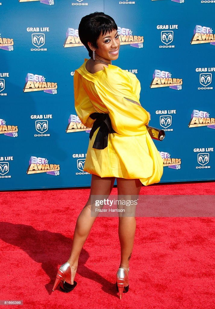 Singer Keyshia Cole arrives at the 2008 BET Awards held at the Shrine Auditorium on June 24, 2008 in Los Angeles, California.