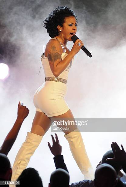 Singer Keyshia Cole on stage during the 2008 BET Awards at the Shrine Auditorium on June 24 2008 in Los Angeles California