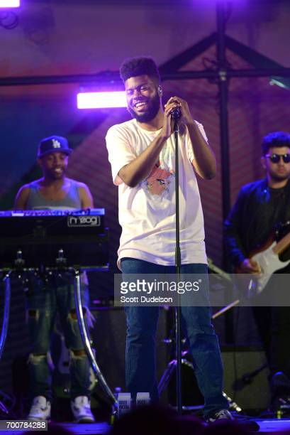 Singer Khalid performs onstage during the Twilight Concert Series at Santa Monica Pier on June 22 2017 in Santa Monica California