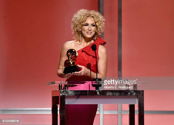 Singer Kimberly Schlapman of Little Big Town accepts award for Best Country Duo/Group Performance for 'Girl Crush' onstage during the GRAMMY...