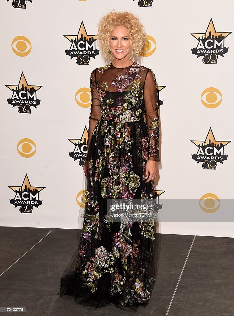 Singer Kimberly Schlapman of Little Big Town winner of the Vocal Group of the Year poses in the press room at the 50th Academy of Country Music...