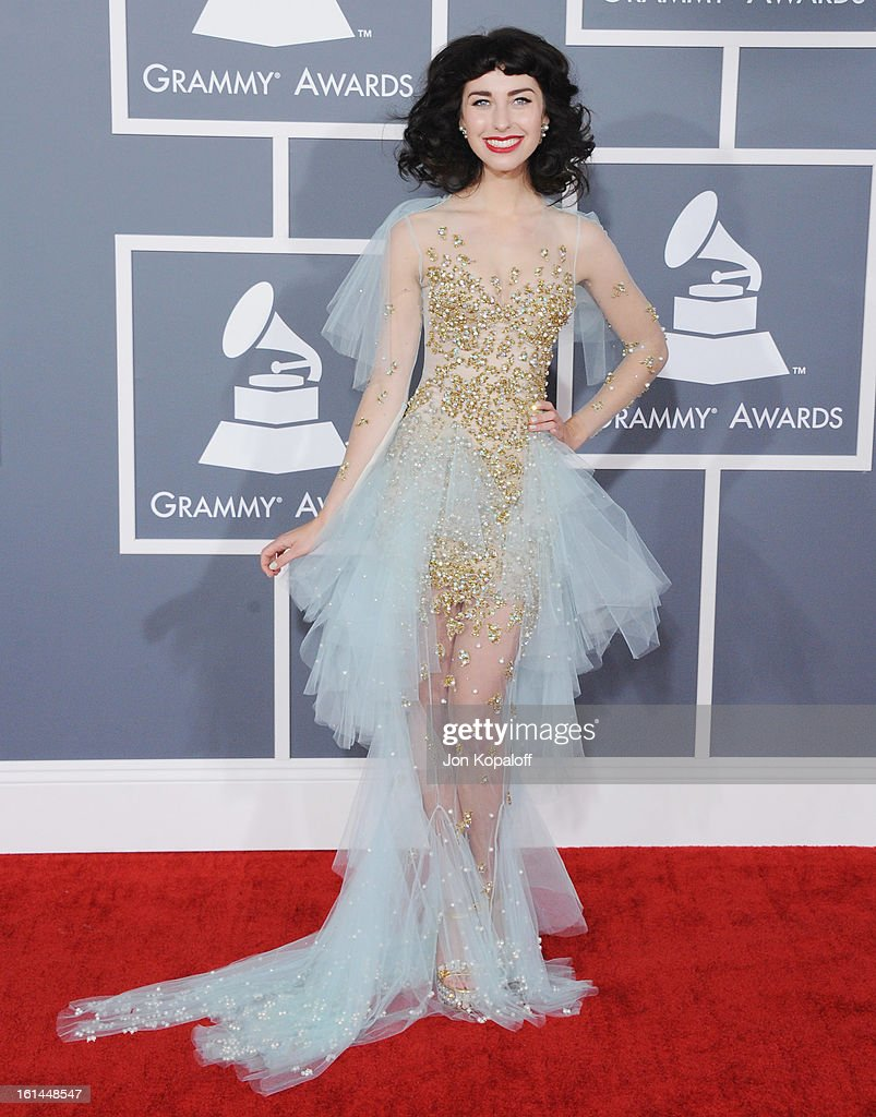 Singer Kimbra arrives at The 55th Annual GRAMMY Awards at Staples Center on February 10, 2013 in Los Angeles, California.