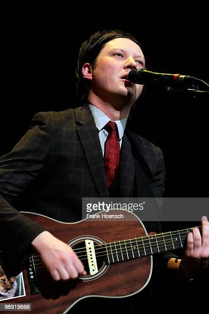 Singer Konstantin Gropper of the German band Get Well Soon performs live during a concert at the Volksbuehne on May 7 2010 in Berlin Germany The...