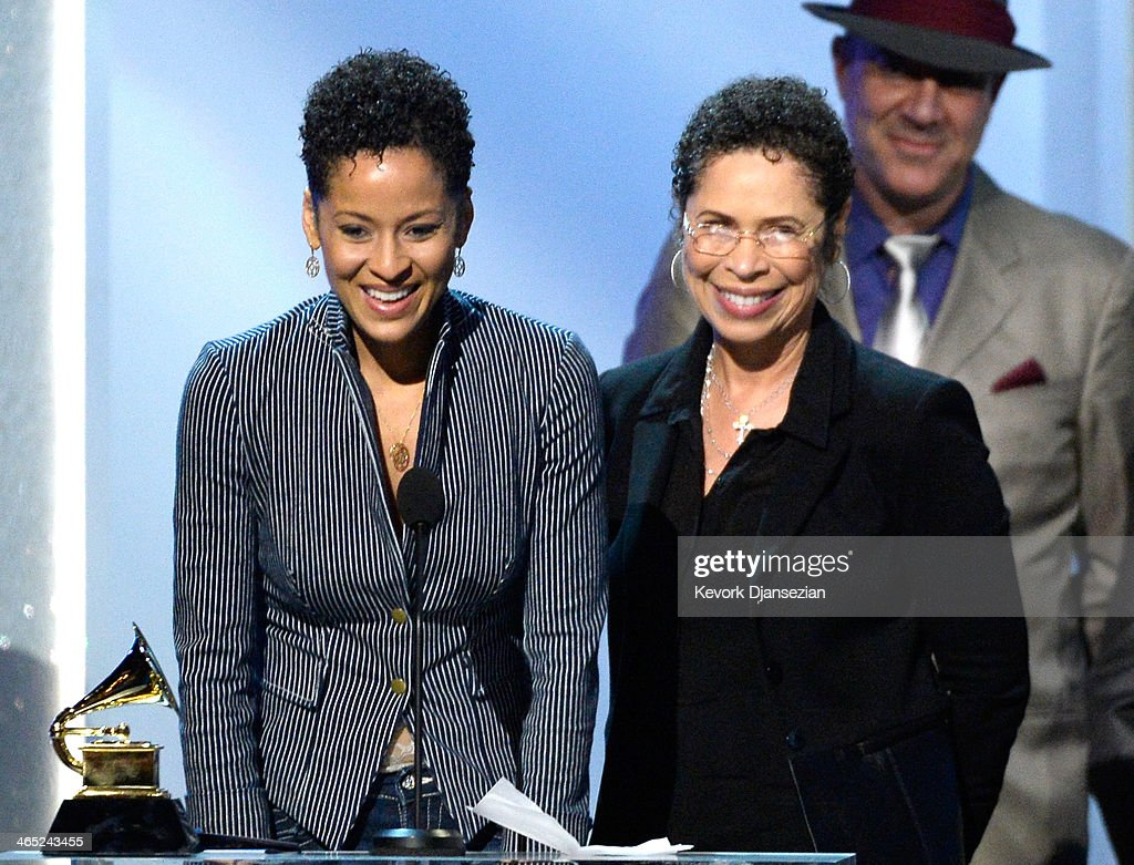 Singer Kori Withers (L) and mother Marcia Johnson accept Best Historical Album for 'The Complete Sussex And Columbia Albums' (on behalf of singer Bill Withers) onstage during the 56th GRAMMY Awards Pre-Telecast Show at Nokia Theatre L.A. Live on January 26, 2014 in Los Angeles, California.