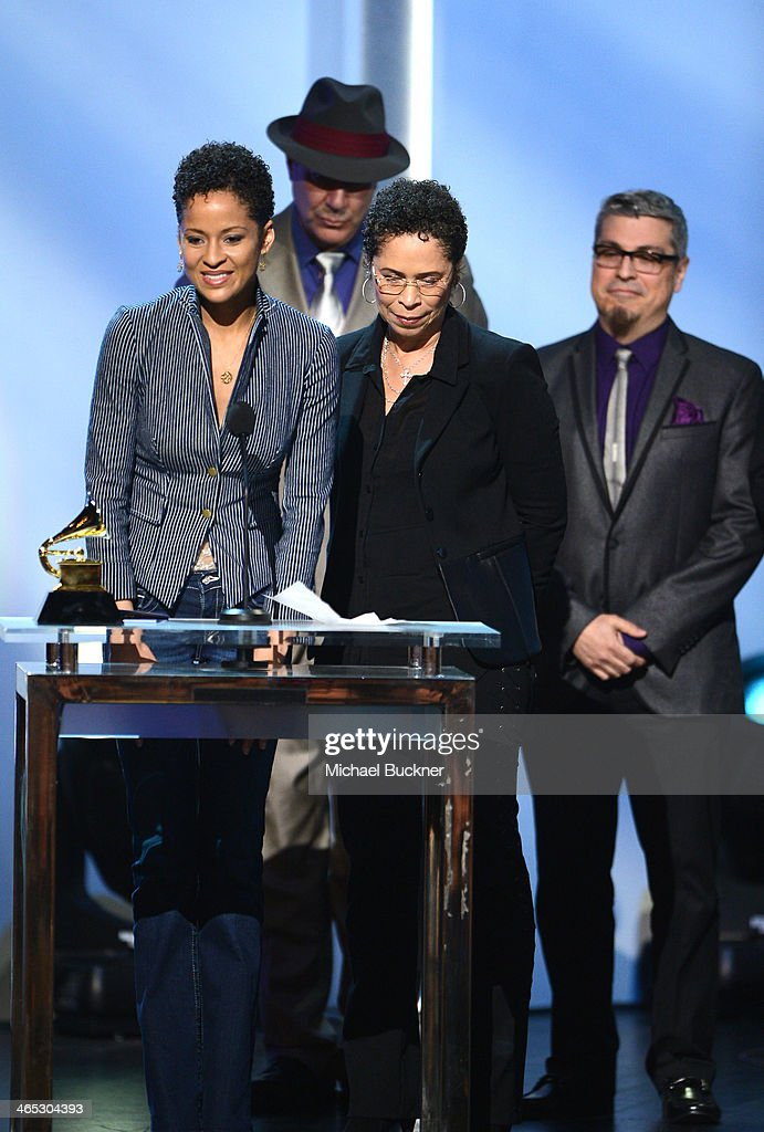 Singer Kori Withers (L) and mother Marcia Johnson (R) accept Best Historical Album for 'The Complete Sussex and Columbia Albums' (on behalf of singer Bill Withers) onstage during the 56th GRAMMY Awards Pre-Telecast Show at Nokia Theatre L.A. Live on January 26, 2014 in Los Angeles, California.