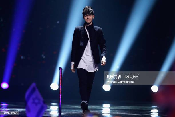 Singer Kristian Kostov representing Bulgaria is seen on stage during the rehearsal for ''The final of this year's Eurovision Song Contest'' at...