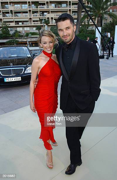 Singer Kylie Minogue and boyfriend actor Olivier Martinez attend the Laureus World Sports Awards at the Grimaldi Forum May 20 2003 in Monaco
