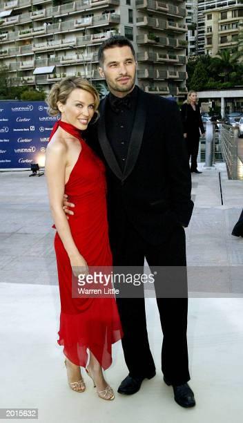 Singer Kylie Minogue and her boyfriend actor Olivier Martinez attend the Laureus World Sports Awards at the Grimaldi Forum May 20 2003 in Monaco