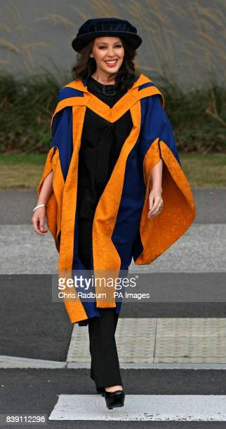 Singer Kylie Minogue arrives at Anglia Ruskin University before receiving an honorary degree in Chelmsford Essex