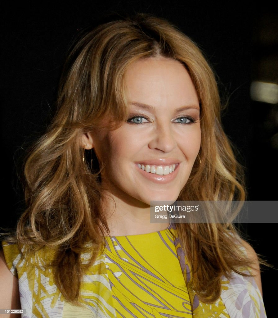 Singer <a gi-track='captionPersonalityLinkClicked' href=/galleries/search?phrase=Kylie+Minogue&family=editorial&specificpeople=201671 ng-click='$event.stopPropagation()'>Kylie Minogue</a> arrives at Roc Nation Pre-GRAMMY brunch at Soho House on February 9, 2013 in West Hollywood, California.