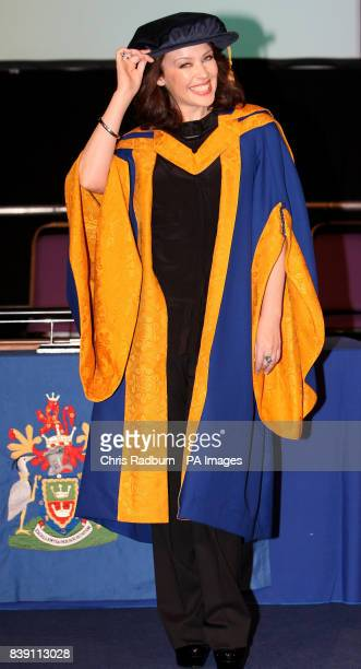 Singer Kylie Minogue at Anglia Ruskin University in Chelmsford Essex where she received an honorary degree