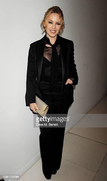 Singer Kylie Minogue attends an after party for the opening of Robert Mapplethorpe Night Work hosted by Scissor Sisters at St Martins Lane Hotel on...