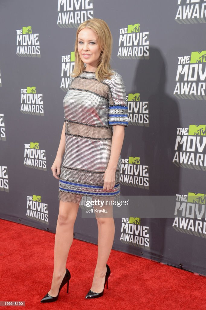Singer Kylie Minogue attends the 2013 MTV Movie Awards at Sony Pictures Studios on April 14, 2013 in Culver City, California.