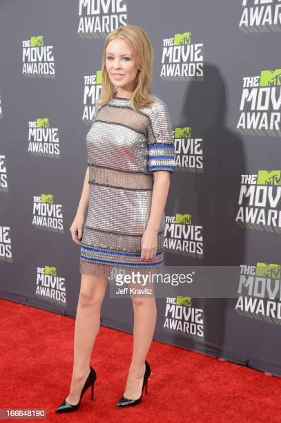Singer Kylie Minogue attends the 2013 MTV Movie Awards at Sony Pictures Studios on April 14 2013 in Culver City California