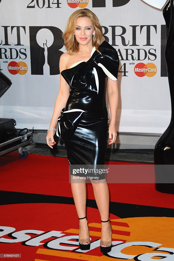 Singer Kylie Minogue attends The BRIT Awards 2014 at 02 Arena on February 19, 2014 in London, England.