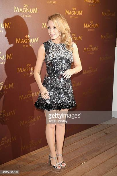 Singer Kylie Minogue attends the Magnum 25th Anniversary party during the 67th Annual Cannes Film Festival on May 21 2014 in Cannes France