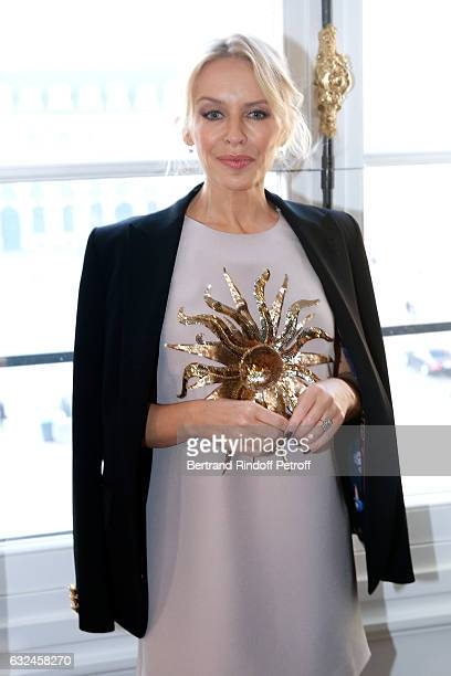 Singer Kylie Minogue attends the Schiaparelli Haute Couture Spring Summer 2017 show as part of Paris Fashion Week on January 23 2017 in Paris France