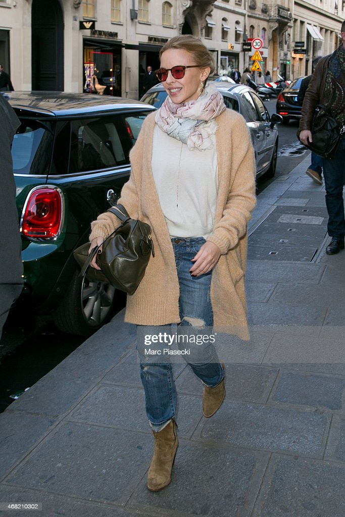 Singer Kylie Minogue is seen leaving the 'CHLOE' store on March 31 2015 in Paris France