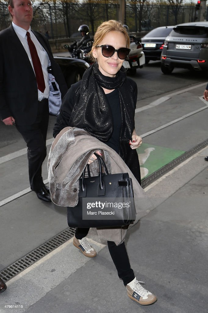 Singer Kylie Minogue is seen on March 19, 2014 in Paris, France.