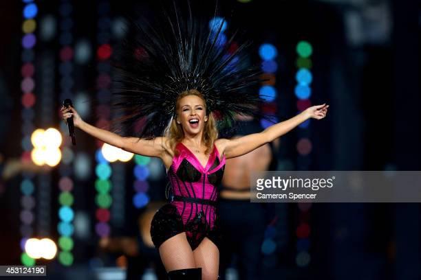 Singer Kylie Minogue performs during the Closing Ceremony for the Glasgow 2014 Commonwealth Games at Hampden Park on August 3 2014 in Glasgow United...