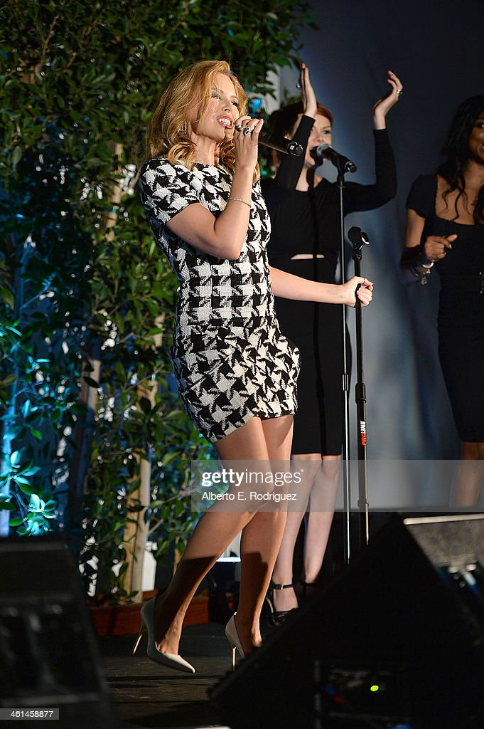 Singer <a gi-track='captionPersonalityLinkClicked' href=/galleries/search?phrase=Kylie+Minogue&family=editorial&specificpeople=201671 ng-click='$event.stopPropagation()'>Kylie Minogue</a> performs during the Qantas Spirit Of Australia Party on January 8, 2014 in Beverly Hills, California.