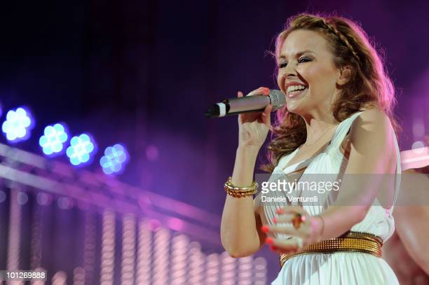 Singer Kylie Minogue performs on the Wind Music Awards Show at the Arena of Verona on May 29 2010 in Verona Italy