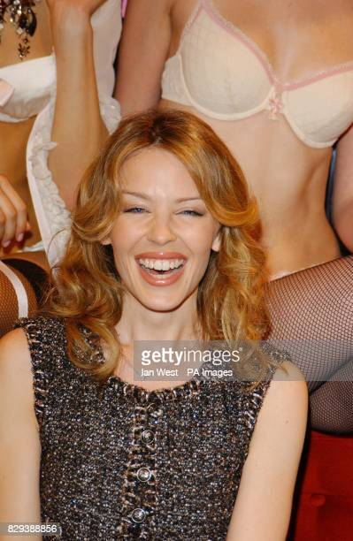 Singer Kylie Minogue poses for photographers during the launch of her new Spring/Summer 2005 Love Kylie collection and the international launch of...