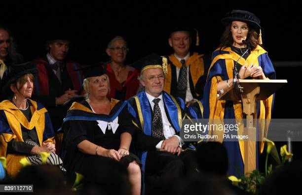 Singer Kylie Minogue speaks as she receives her honorary degree from Anglia Ruskin University in Chelmsford Essex