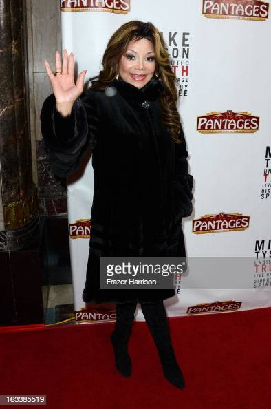 Singer La Toya Jackson arrives at the opening Night Of 'Mike Tyson Undisputed Truth' At The Pantages Theatre at the Pantages Theatre on March 8 2013...