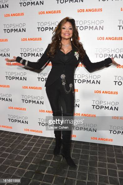 Singer La Toya Jackson arrives at the Topshop Topman LA Opening Party at Cecconi's West Hollywood on February 13 2013 in Los Angeles California