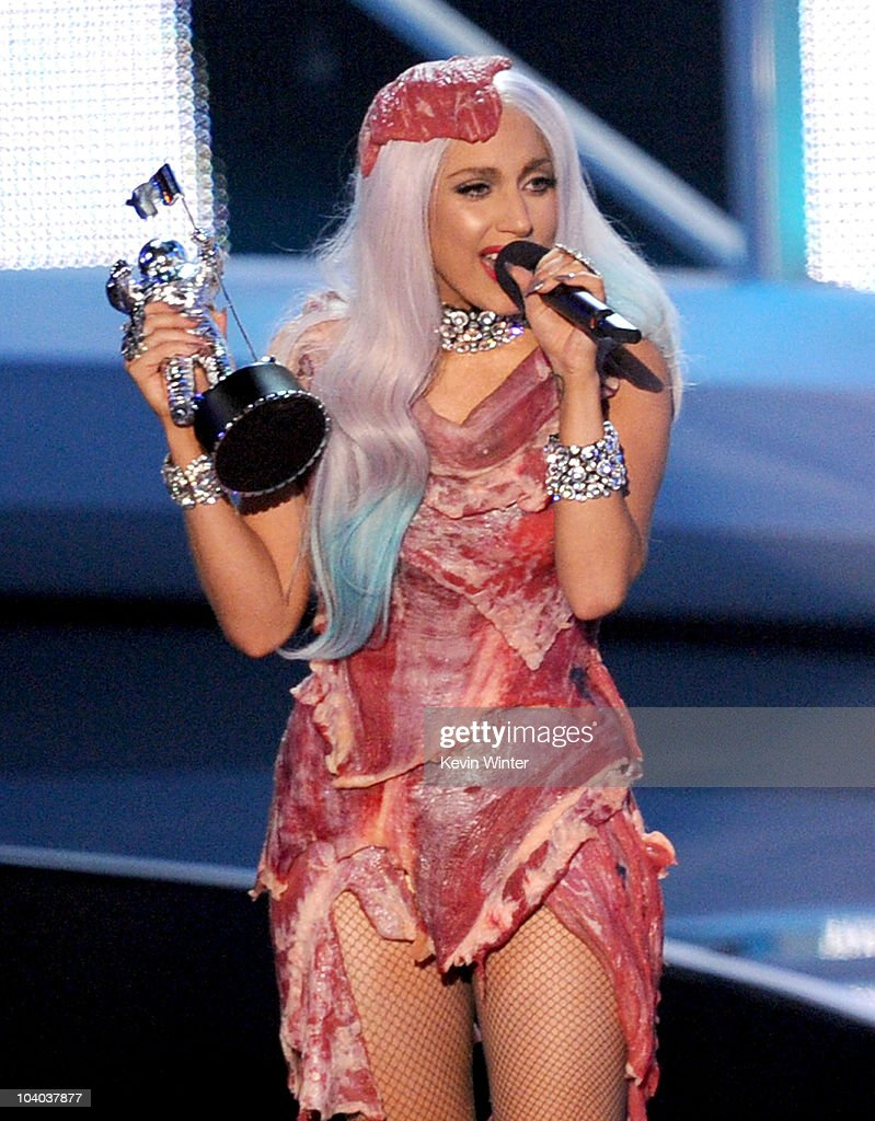 Singer Lady Gaga accepts the Video of the Year award onstage during the 2010 MTV Video Music Awards at NOKIA Theatre LA LIVE on September 12 2010 in...