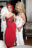 Singer Lady Gaga and actress Pamela Anderson attend the Absolut Elyx Hosts Mark Ronson's Grammy's Afterparty at Elyx House Los Angeles on February 15...