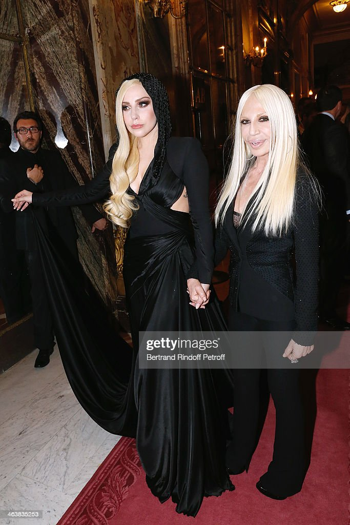 Singer <a gi-track='captionPersonalityLinkClicked' href=/galleries/search?phrase=Lady+Gaga&family=editorial&specificpeople=4456754 ng-click='$event.stopPropagation()'>Lady Gaga</a> and Donnatella Versace pose after the Atelier Versace show as part of Paris Fashion Week Haute Couture Spring/Summer 2014 on January 19, 2014 in Paris, France.