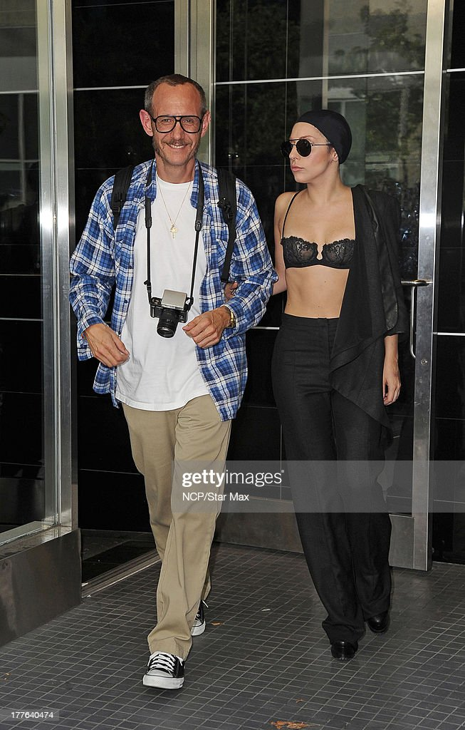 Singer <a gi-track='captionPersonalityLinkClicked' href=/galleries/search?phrase=Lady+Gaga&family=editorial&specificpeople=4456754 ng-click='$event.stopPropagation()'>Lady Gaga</a> and <a gi-track='captionPersonalityLinkClicked' href=/galleries/search?phrase=Terry+Richardson&family=editorial&specificpeople=758714 ng-click='$event.stopPropagation()'>Terry Richardson</a> is seen on August 24, 2013 in New York City.