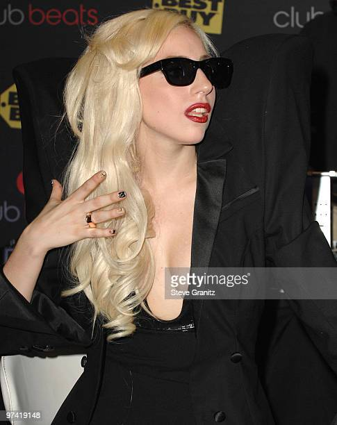 Singer Lady Gaga appears at InStore Appearance at Best Buy on November 23 2009 in Los Angeles California
