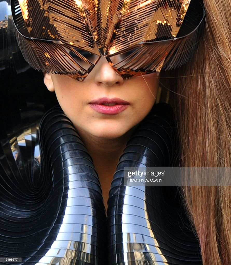 Singer Lady Gaga arrives at Macy's Herald Square in New York on September 14, 2012 to launch her first fragrance, Lady Gaga Fame, released through the singer's own Haus Laboratories in association with Coty.